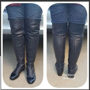 French Blu quilted thigh high boots 10